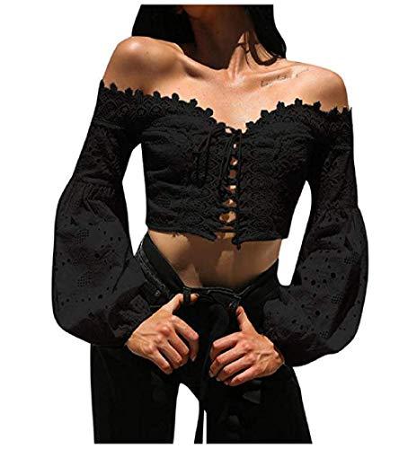 TUDUZ Pullover Tops Damen Elegant Langarm Schulterfrei Hohle Spitze Lose Bluse T-Shirt (Schwarz, - Punk Rock Nerd Kostüm