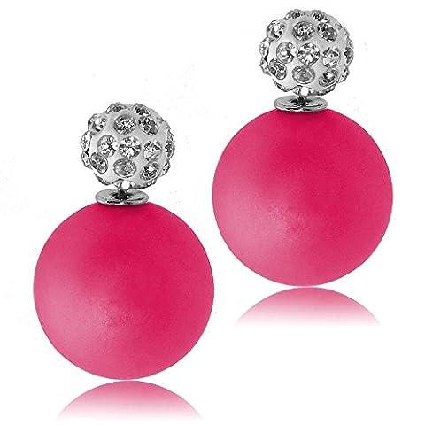 tumundo Shamballa Cristal Boucles d'oreilles Fausse Perles Bijoux Femme Double