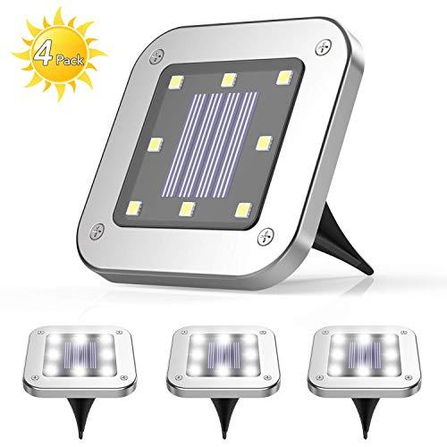 4 Pezzi Luce Sepolta Solare,AGPTEK 8 LEDS lampade da giardino solari da terra,IP65 Lampada Solare da Terra con Batteria 600mAh Bianco Caldo Per Giardino, Scala,Paesaggio,Strade,Prato,Vialetto