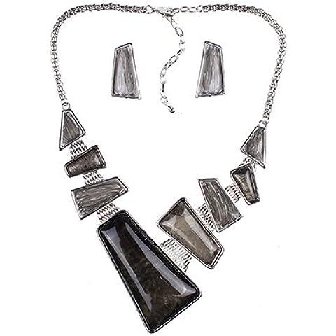 Epyen (TM) di marca di modo dei monili di argento collana rossa placcato Imposta gioielli regali di nozze di alta qualit¨¤ Design unico partito - Nero Monili Di Nozze Insieme