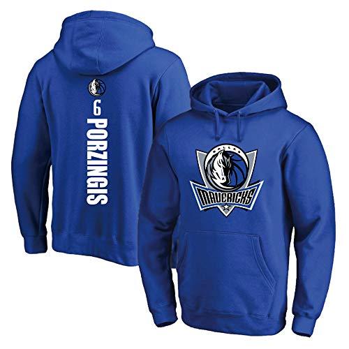 RTMJUNMA NBA Dallas Mavericks 6# Porzingis Herren-Basketball-Trikot Herren-Fans Unisex - Basketball Training Hoodie