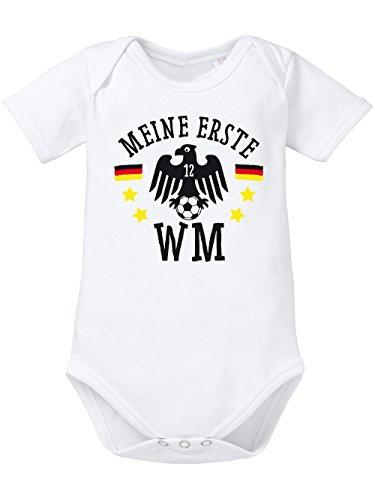 clothinx Baby Body Unisex Fußball Meine erste WM Weiß Größe 50-56