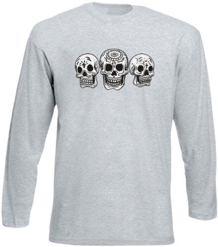 Herren Langarm-Shirt ::: Three Skulls ::: für Gothic Fans Grau