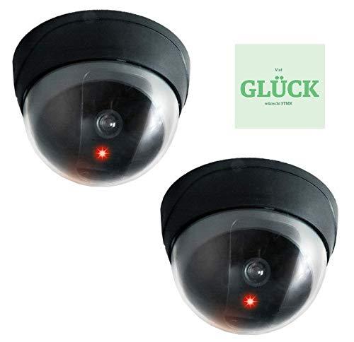 Set. 2 Stück Domkamera Dummys, Kamera-Atrappe mit LED, Fake Cam + gratis Glück Aufkleber