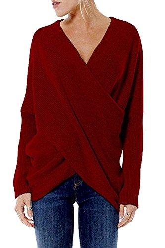 YOINS Damen Pullover Herbst Winter V-Ausschnitt Langarmshirt Batwing Strick Sweater Loose Strick Jumper Shirt Top Cross Front Rotwein EU40-42