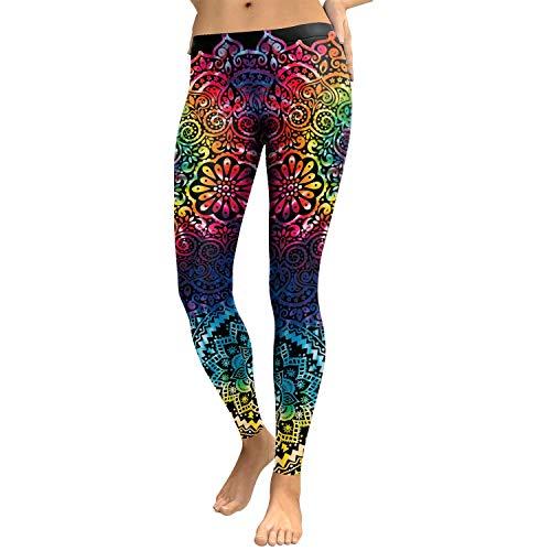 MY Leggings Mujeres Mandala Flor 3D Impresión de Gradiente Legging Fitness Leggins Pantalones de Cintura Alta Pantalones Yoga Legging Yoga