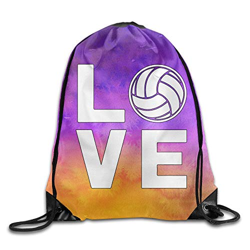 Jeroty I Love Volleyball for Volleyball Fans Sports Drawstring Backpack Bags