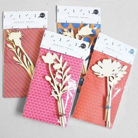 Flores y hojas de madera cortada con láser, diseño de flores y piedras cortada con láser para placa de madera