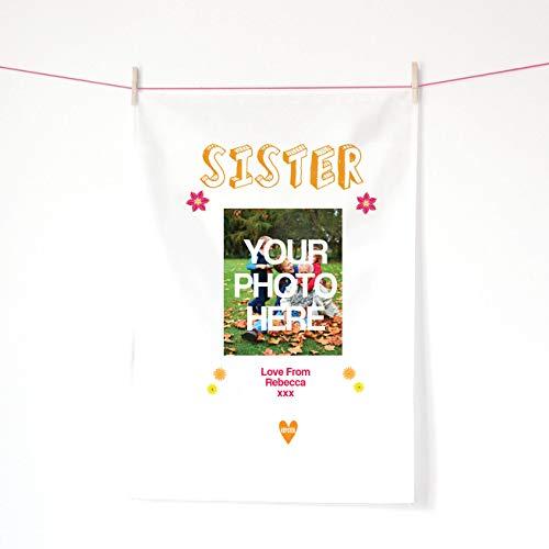 Kepster Foto Geschenk für Schwester, personalisierbar SIS Foto Geschirrtuch, Foto Print Handtuch (Twin Schwester Geschenke)