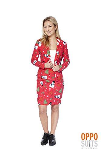 Kostüm Prince Red (Christ Miss Damen Kostüm Weihnachten rot Opposuit 70er Slimline 2-teilig)