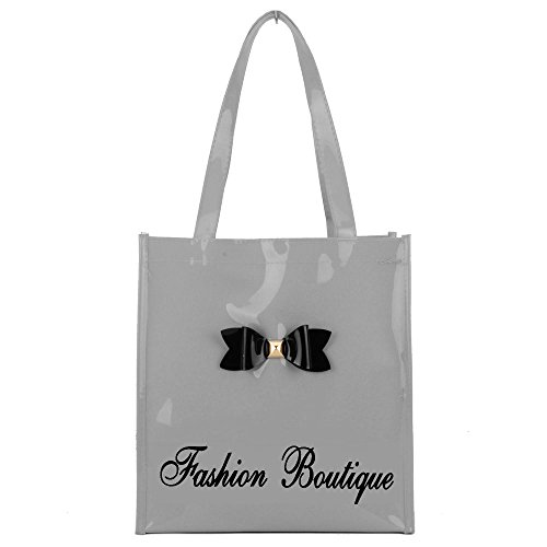 gossip-girl-ladies-medium-patent-glossy-shopper-tote-lunch-bag-with-bow-medium-grey