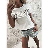 REWXN Frauen Vogue Print T Shirt Damen Brief Top Sommer Kurzarm Shirt Mode