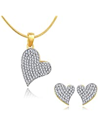 Spargz Gold Plated CZ Stone Love Heart Women Gift Wedding/Party Pendant Set ALPS_5058