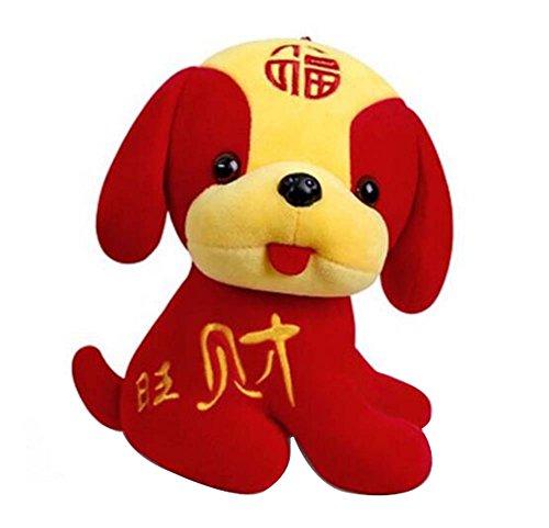Jahr der Hund Maskottchen Wangcai Lunar New Year Welpen Plüschtier Puppe, D6 (Hund Realistische Ausgestopfte Tiere)
