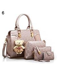 ELECTROPRIME 5 Pcs/Set Fashion Lady Faux Leather Handbag Shoulder Bag Clutch Card Holder Gift