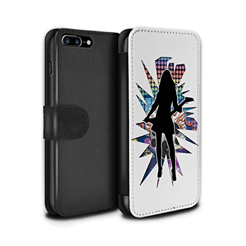 Stuff4 Coque/Etui/Housse Cuir PU Case/Cover pour Apple iPhone 8 Plus / Rock Dame Noir Design / Rock Star Pose Collection Rock Dame Blanc