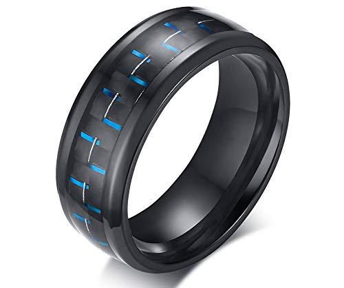 XUANPAI 8mm Edelstahl Kohlefaser Material GreenWedding Versprechen Ring Für Männer Blau, Größe 67