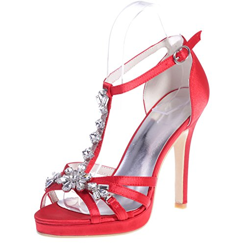 Elobaby scarpe da sposa da donna strass elasticizzato in raso con tacco a spillo/plateau/tacco 11 cm, red, 35