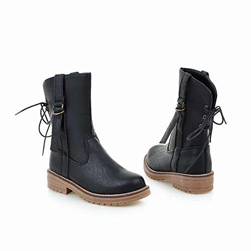 Mee Shoes Damen backstrap chunky heels runde kurzschaft Stiefel Schwarz jAddjaBwf2