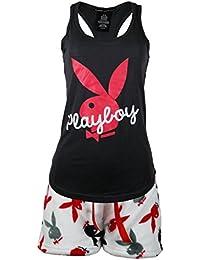 Playboy Sleepwear Womens Racer Back Top and Fleece Shorts Set