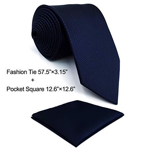 Shlax&Wing Mehrfarbigs Einfarbig Blau Navy Seide Krawatte for Männer Seide Navy