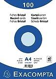 Exacompta 10316E Karteikarten (Packung mit 100, 250g, in Folie eingeschweißt, DIN A4, 21 x 29,7 cm, blanco, ideal für die Schule) 1er Pack blau
