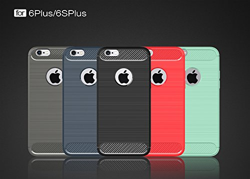 DBIT Apple iPhone 6 Plus/6S Plus Custodia ,Coperchio di Protezione Compatto in Fibra di Carbonio con Cassa Antiurto in Silicone Ultra Morbido e Leggero TPU Case Cover per Apple iPhone 6 Plus/6S Plus S Grigio