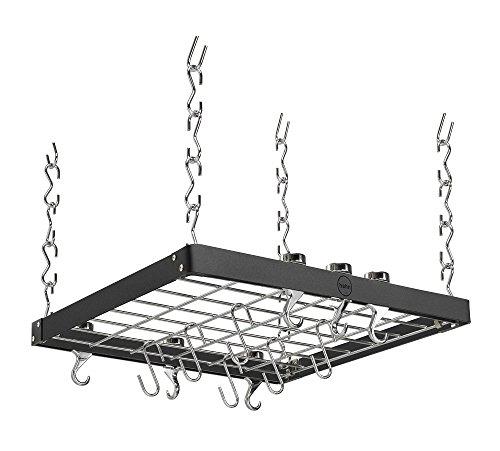 Hahn Black Steel Square Ceiling Rack, Black