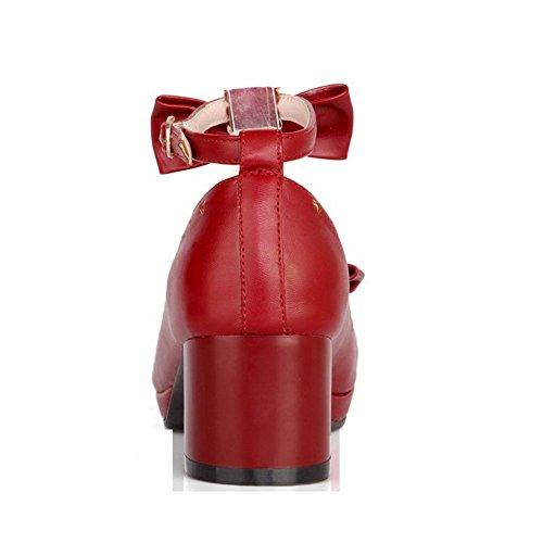 Correct VogueZone009 Talon Légeres Chaussures à Matière Femme Couleur Unie Rouge Souple qxxWXUPw1Z