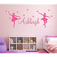 Ballerina & Butterflies Kids Personalised Any Name Wall Art Mural Ballet Sticker