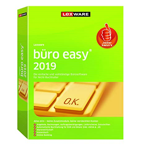 Lexware büro easy 2019|(Jahreslizenz)|für Kleinunternehmer und Existenzgründer|Bürosoftware mit Basisfunktionen, Kassenbuch, Warenwirtschaft u.w.|Kompatibel mit Windows 7 oder aktueller – FFP