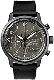 Timex Men's Chronograph Quartz Watch With Leather Strap Tw2R69000, Black