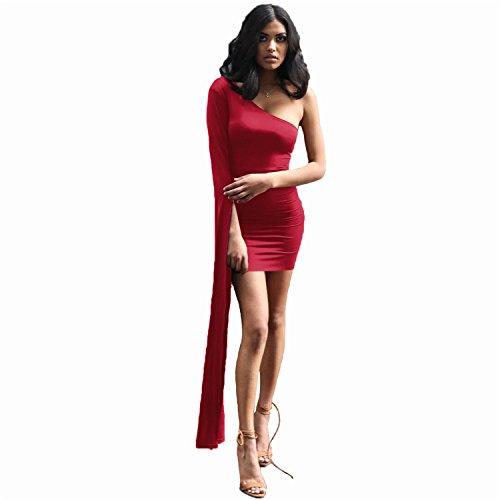 a Maniche Lunghe asimmetrico One Shouler Spalle Scoperte Mini Bodycon Aderente Fasciante Vestito Abito Borgogna