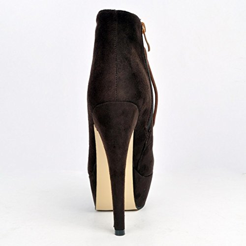 Kolnoo Femmes Handmade 14.5cm Bottines à plateforme à talons hauts Bottines à lacets Chaussures Coffee Café