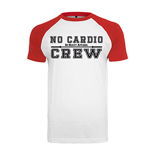 Go Heavy Uomo Baseball Shirt - No Cardio Crew - bianco/rosso Bianco