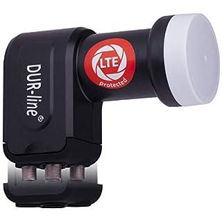 DUR-line +Ultra Quad LNB - 4 Teilnehmer schwarz - mit LTE-Filter [ Test SEHR GUT *] 4-Fach, digital mit Wetterschutz, Full HD, 4K,Premium-Qualität