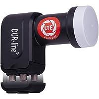 DUR-line +Ultra Quad LNB - 4 Teilnehmer schwarz - mit LTE-Filter - Test SEHR GUT - 4-Fach, digital, Full HD, 4K, 3D, Sieger - Premium-Qualität