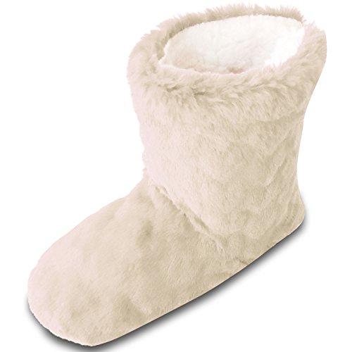 TOESTERS Damen-Frauen-Mädchen-Winter-Schnitt-Stapel-Entwurf geprägter Druck-Stiefel-Pantoffel mit gemütlichem Fleece-Futter (Fleece Damen Stiefel)