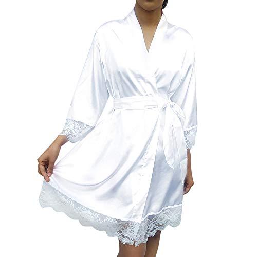 SUCES Frauen Bademantel Sexy Seide Spitze Patchwork Mode Herbest Dessous Damen Gürtel Nachtwäsche Mini Weiß Kurze Kleid Weich Einfach Nachthemd (Weiß,S)