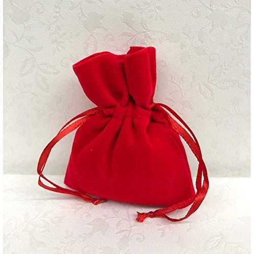 12 pz sacchetto portaconfetti in vellutino rosso bomboniera laurea