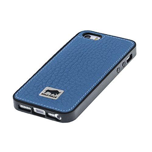 """Solo Pelle Iphone SE / 5 / 5S Case Lederhülle Ledertasche Backcover """" Flex """" aus echtem Leder (Floater Taupe) inkl. hochwertiger Geschenkverpackung Floater Blau"""