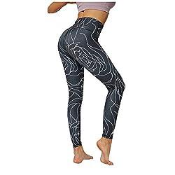 Leggings Damen Druck Fitness Laufen Sich kultivieren Neunte Yogahose (M,13Schwarz)