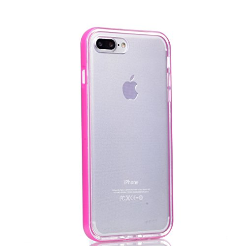 iPhone 8 Plus Coque, Voguecase TPU avec Absorption de Choc, Etui Silicone Souple Transparent, Légère / Ajustement Parfait Coque Shell Housse Cover pour Apple iPhone 8 Plus 5.5 (Transparent frontière-V Transparent frontière-Pink