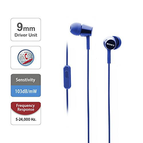 Sony MDR-EX150AP In-Ear Headphones with Mic (Darkish Blue) Image 2