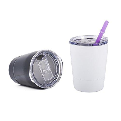 Weiye Edelstahl Becher mit Deckel–für Kaffee Bier oder Mixed Drinks–8.8OZ–doppelwandig und Vakuum versiegelt–BPA-frei–2Pack Kids Edelstahl Becher mit Deckel und Strohhalme 2pcs a
