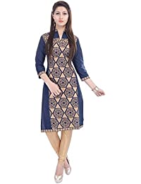 The Style Story Blue Gold Printed Embroidered Kurti
