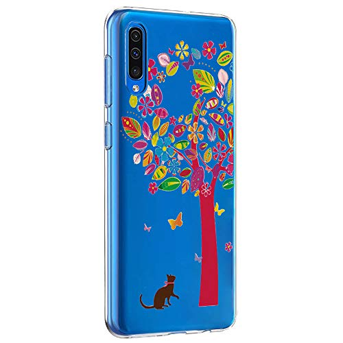 Riyeri Hülle Compatible with Samsung Galaxy A50 Hülle Transparent Fit TPU Silikon Bumper Handyhülle für Samsung A50 Cell Phone - Blume (A50, 1) Fit Silikon