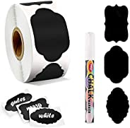 300 Chalkboard Labels & White Erasable Marker, Pantry & Storage Stickers for Jars, Kitchen Labels for
