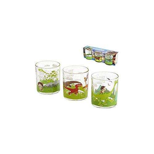 H & H Good Dinosaurio unidades 3vasos, cristal, multicolor, 26x 8x 9cm