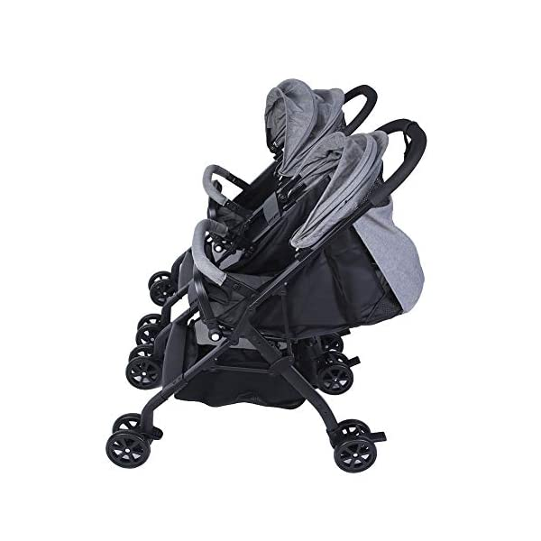 lyrlody Baby Stroller,Lightweight Twin Pushchair Detachable Double Stroller Multifunction Folding Anti-Shock Pram with Baby Cup Holder for Babies Toddlers Children Kids Grey lyrlody LIGHTWEIGHT DESIGN:2 in 1 design, can be detached and used separately.Shock resistant design can effectively prevent external shock and keep your baby's brain Durable:Made of aluminum alloy material, very sturdy.With the baby cup holder, it is convenient for your baby to drink water Very Convenient:Large capacity, can hold more items for children, such as diapers, clothes and bottles 8